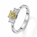 Fancy yellow emerald cut diamond ring