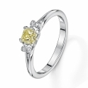 Fancy yellow princess cut diamond three stone ring with diamond set shoulders