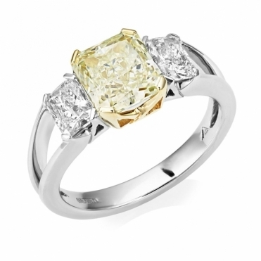 Fancy Yellow Radiant-cut diamond Three Stone Ring