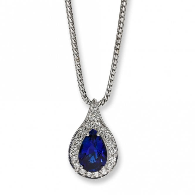 Fine Ceylon sapphire and Diamond Pendant