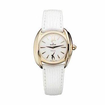 First Lady PVD Rose Gold Quartz Watch on White Strap - E-21230-37RAIR