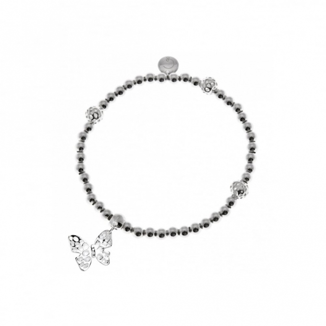 Flutterby Sterling Silver Stranded Bead Bracelet
