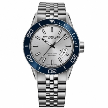 Freelancer 300m Mens Divers Automatic Watch in Blue and Silver