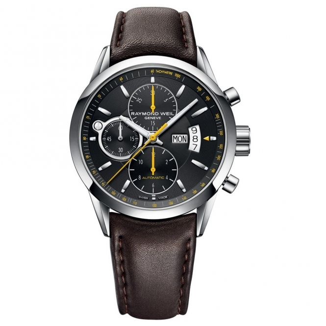 Freelancer automatic chronograph Black dial with yellow hands