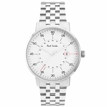 Gauge 3 hand 41mm stainless steel quartz watch. White dial and Steel Bracelet.