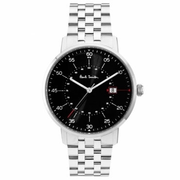 Gauge 3 hand 41mm steel quartz watch with black dial and steel bracelet
