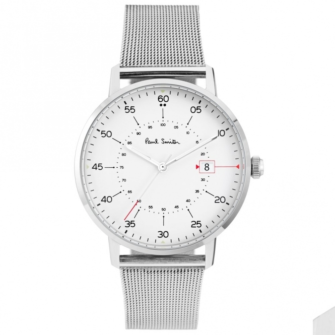 Gauge 3 Hand Quartz Watch in stainless steel with white dial and stainless steel mesh strap