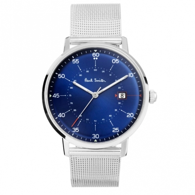 "Gauge 3 Hands Quartz Watch with Blue Dial and ""Milanese"" bracelet"