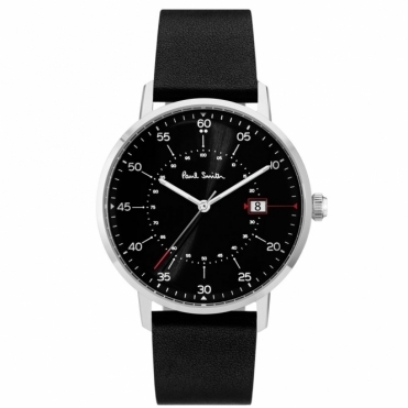 Gauge Watch with Black Dial & Black Leather Strap
