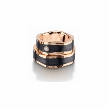 Gents & Ladies 18ct Rose Gold & Carbon Wedding Rings
