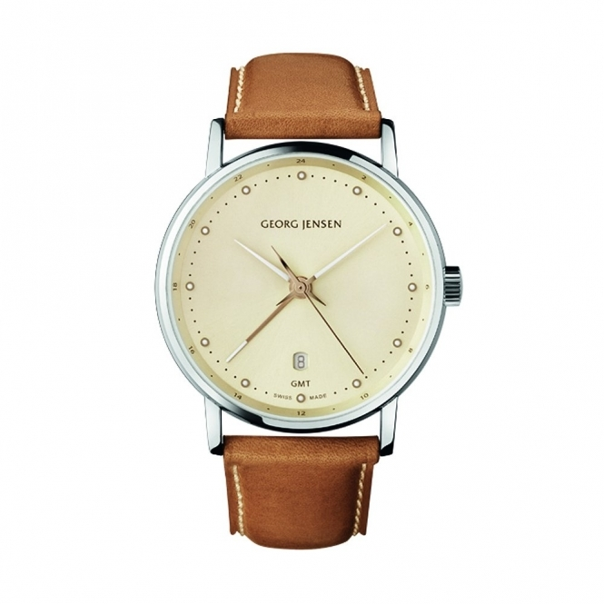 Georg Jensen Koppel 519 Gents Quartz Dual Time Watch with Champagne Dial/Tan Strap - 3575365