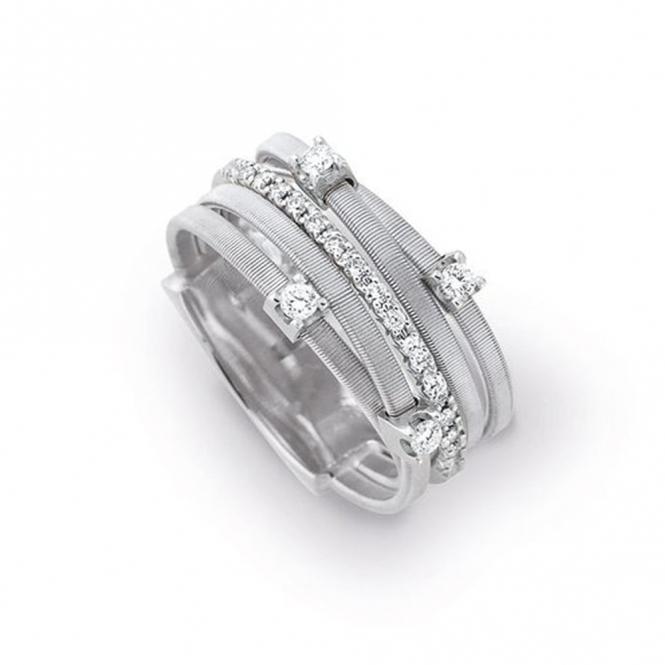 Goa 18ct White Gold 5 Strand Multi Diamond Ring