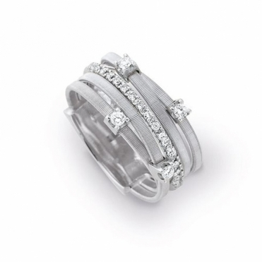 Goa 18ct White Gold 5 Strand Multi Diamond Ring