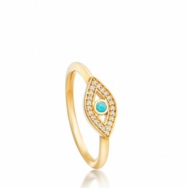 Gold Evil Eye Biography Ring