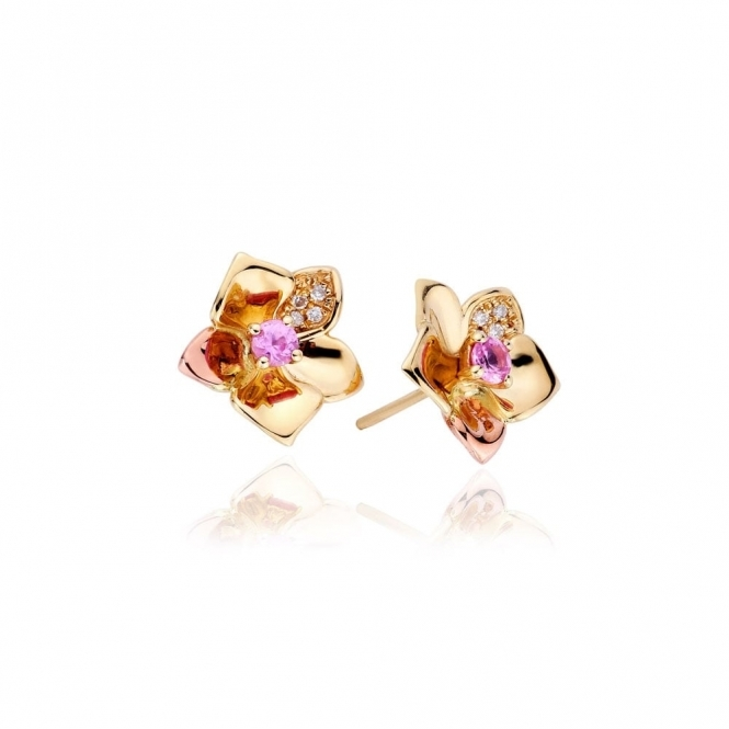 Gold Orchid Diamond Earrings