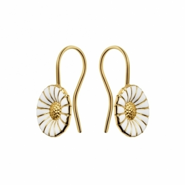 Gold Plated Sterling Silver White Daisy Earhooks