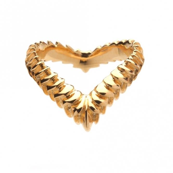 Gold Vermeil Venom Textured Wishbone Ring