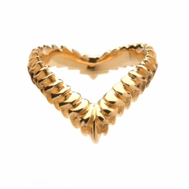 Gold Vermeil Venom Textured Wishbone Ring
