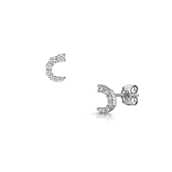 Graduated Curve Diamond Stud Earrings