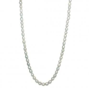 Grey Cultured Pearl Long Necklace