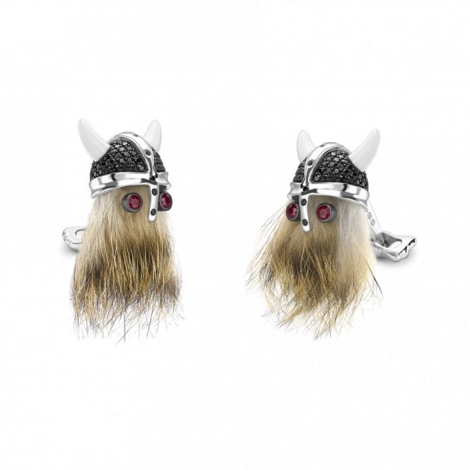 Hairy Viking cufflinks with black spinel helmet and ruby eyes