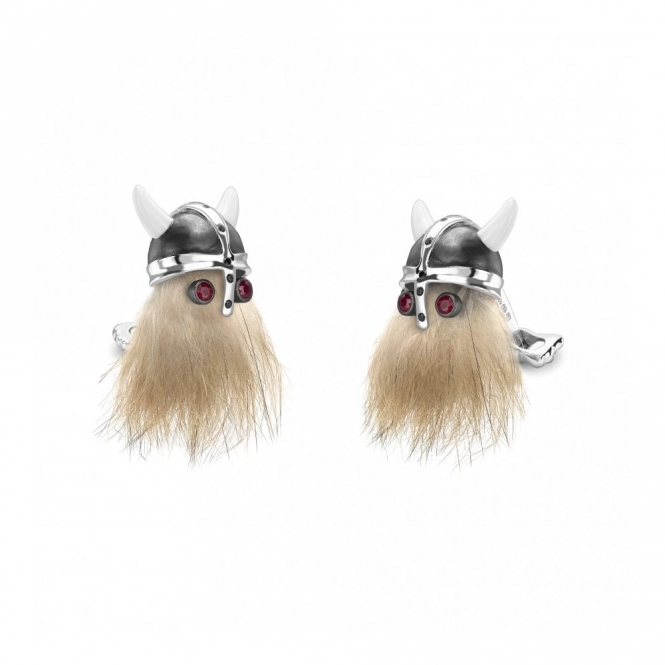 Hairy Viking Silver and Ruby Cufflinks