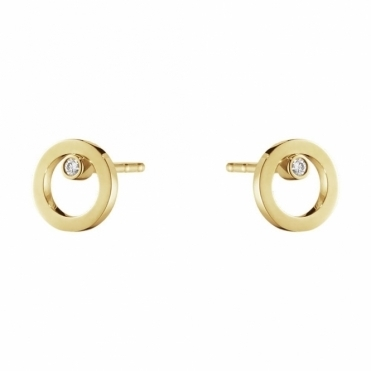 Halo 18ct Yellow Gold Diamond 0.03ct Ear Studs