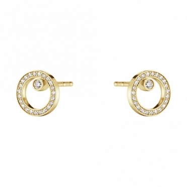 Halo 18ct Yellow Gold Diamond 0.12ct Ear Studs