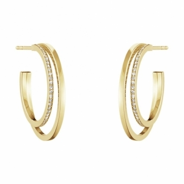 Halo 18ct Yellow Gold Diamond 1633B Hoops