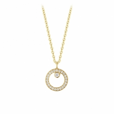 Halo 18ct Yellow Gold Diamond Pendant