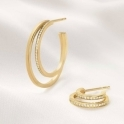 Halo 18ct Yellow Gold Double Diamond 1633A Hoops