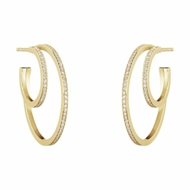 Halo 18ct Yellow Gold Double Diamond 1633C Hoops
