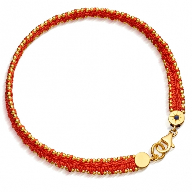 Hot Coral Woven Biography Bracelet