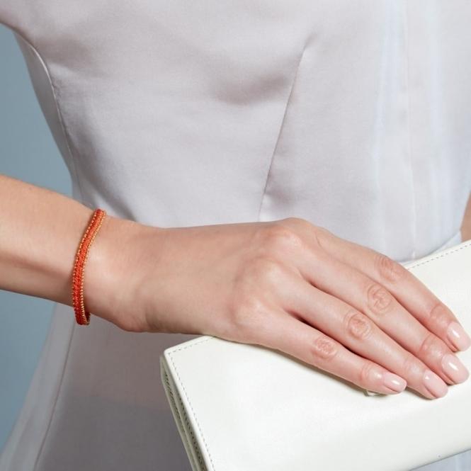 99123d5bd1b Hot Coral Woven Biography Bracelet
