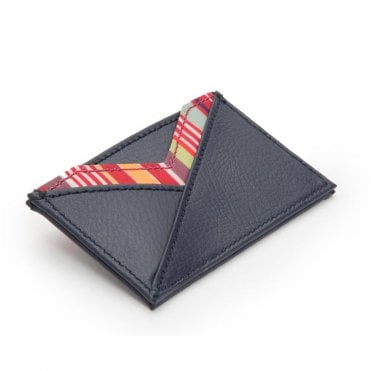 Howard Credit Card Holder in Navy Pebble Leather with Stripe Trim.