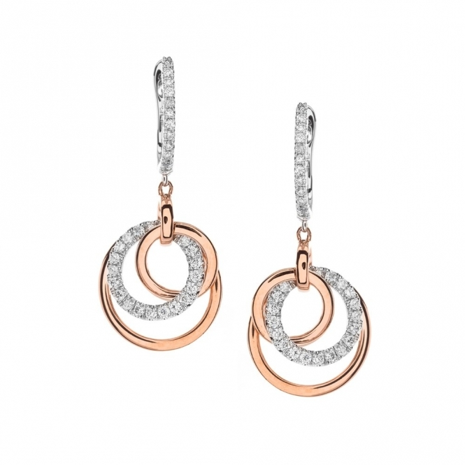 Hulchi Belluni 18ct Rose & White Gold Diamond Hoop Drop Earrings