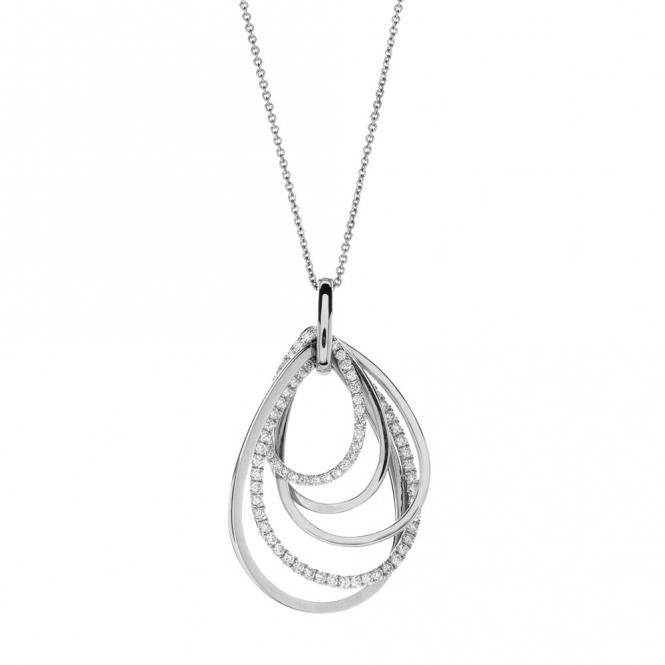 Hulchi Belluni 18ct White Gold Diamond Hoop Necklace