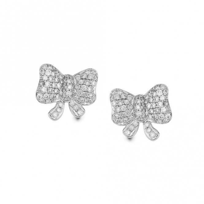 Hulchi Belluni 18ct White Gold Diamond Set Bow Stud Earrings