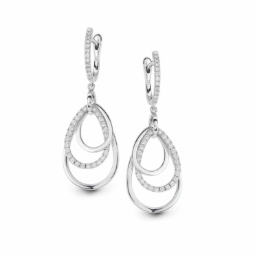 Hulchi Belluni 18ct White Gold Diamond Three Hoop Drop Earrings