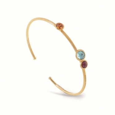 Jaipur 18ct Gold Mixed Gem Torque Bangle