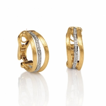 Jaipur 18ct Yellow and White Gold Links Hoop Earrings