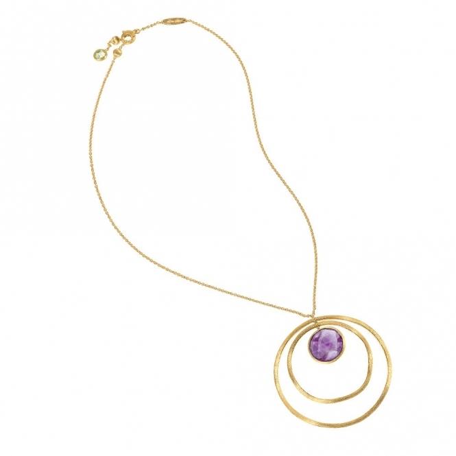 Jaipur 18ct Yellow Gold Circular Amethyst Pendant