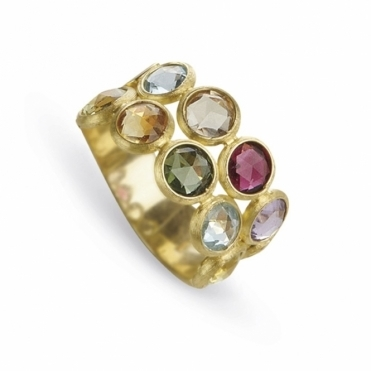Jaipur 18ct Yellow Gold Double Strand Mixed Stone Ring