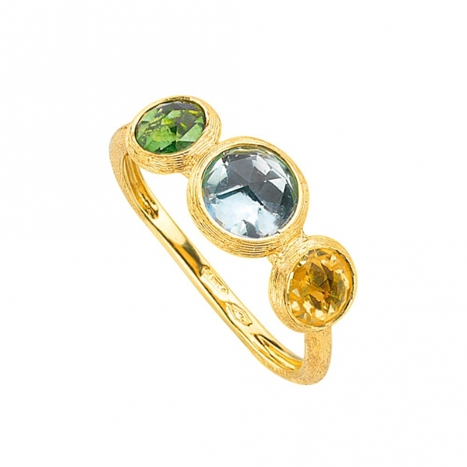 Jaipur 18ct Yellow Gold Green Tourmaline, Topaz & Citrine Ring