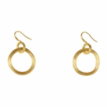 Jaipur 18ct Yellow Gold Links Hoop Drop Earring