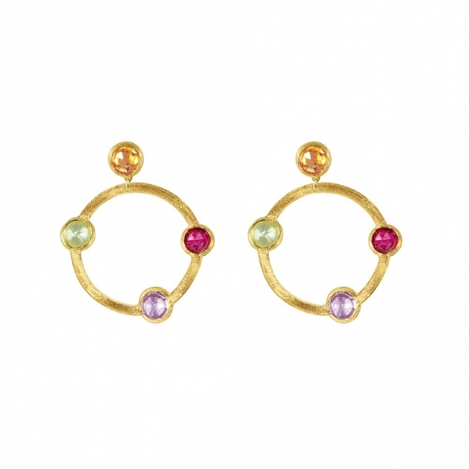 Jaipur 18ct Yellow Gold Mixed Stone Circular Earrings
