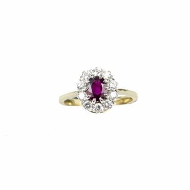 JSW 18ct Yellow Gold Ruby & Diamond Cluster Ring RRP £2960