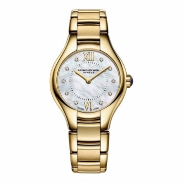 Ladies Noemia Yellow Gold PVD Quartz Watch with Diamond Hours