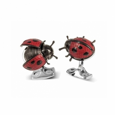 Ladybird Black Enamel and Red Leather Cufflinks
