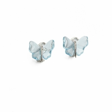 Lalique Blue Glass Butterfly Earrings